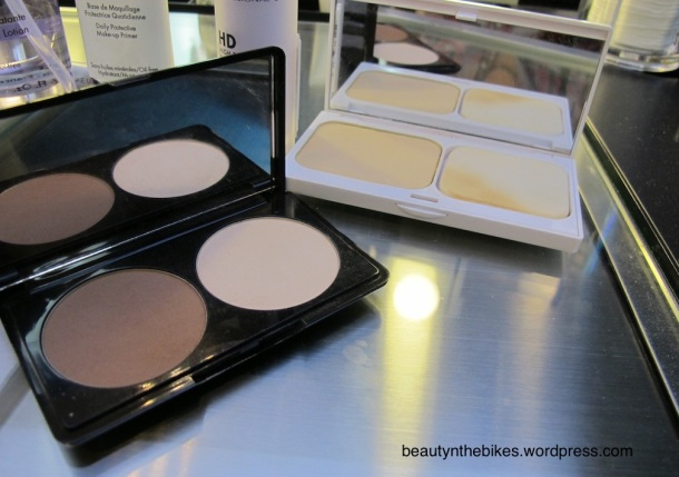The products: (right) White Definition Instant Brightening Powder Foundation, (left) Sculpting Kit
