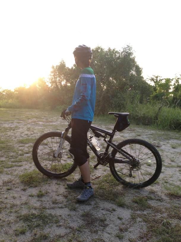 Enjoying the sunset atop the Tampines Mountain Bike Trail