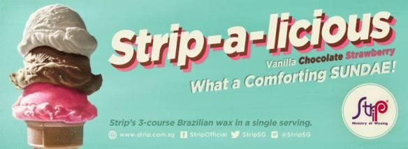 Virgin Brazilian waxing experience with STRIP‐A‐LICIOUS Sundae: Walk