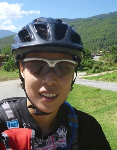 The photochromic lenses get really dark when you're in the sun, and get clear when it's dark outside. That's me cycling in Bhutan!